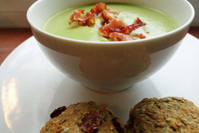 Courgette Scones with Vegetable and Bacon Soup