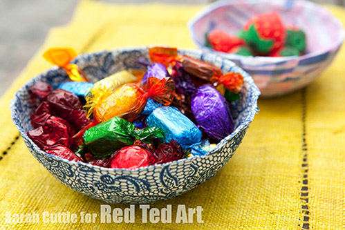 Fabric mache bowl Red Ted Art